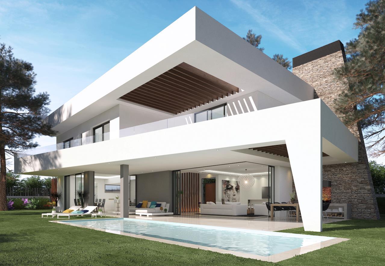 Nueva construcción de villa estilo contemporáneo. Marbella.