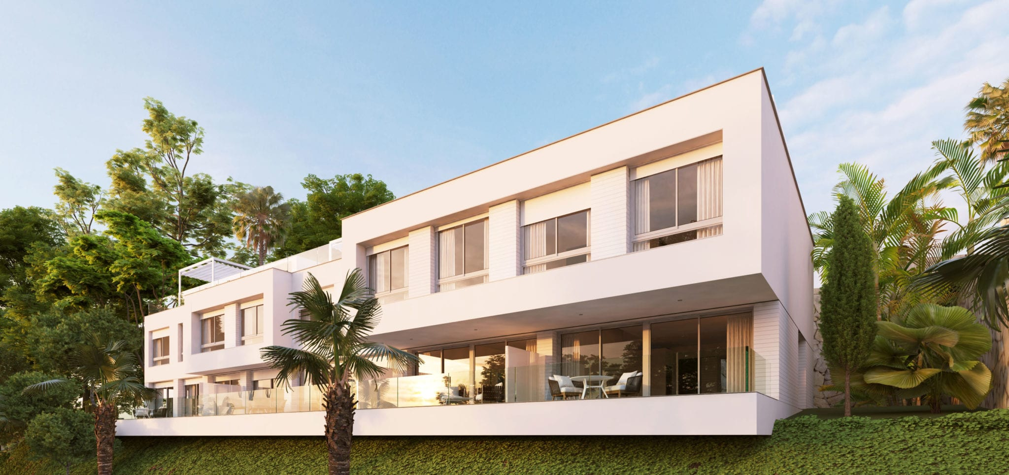 Townhouses with sea views in Cancelada.