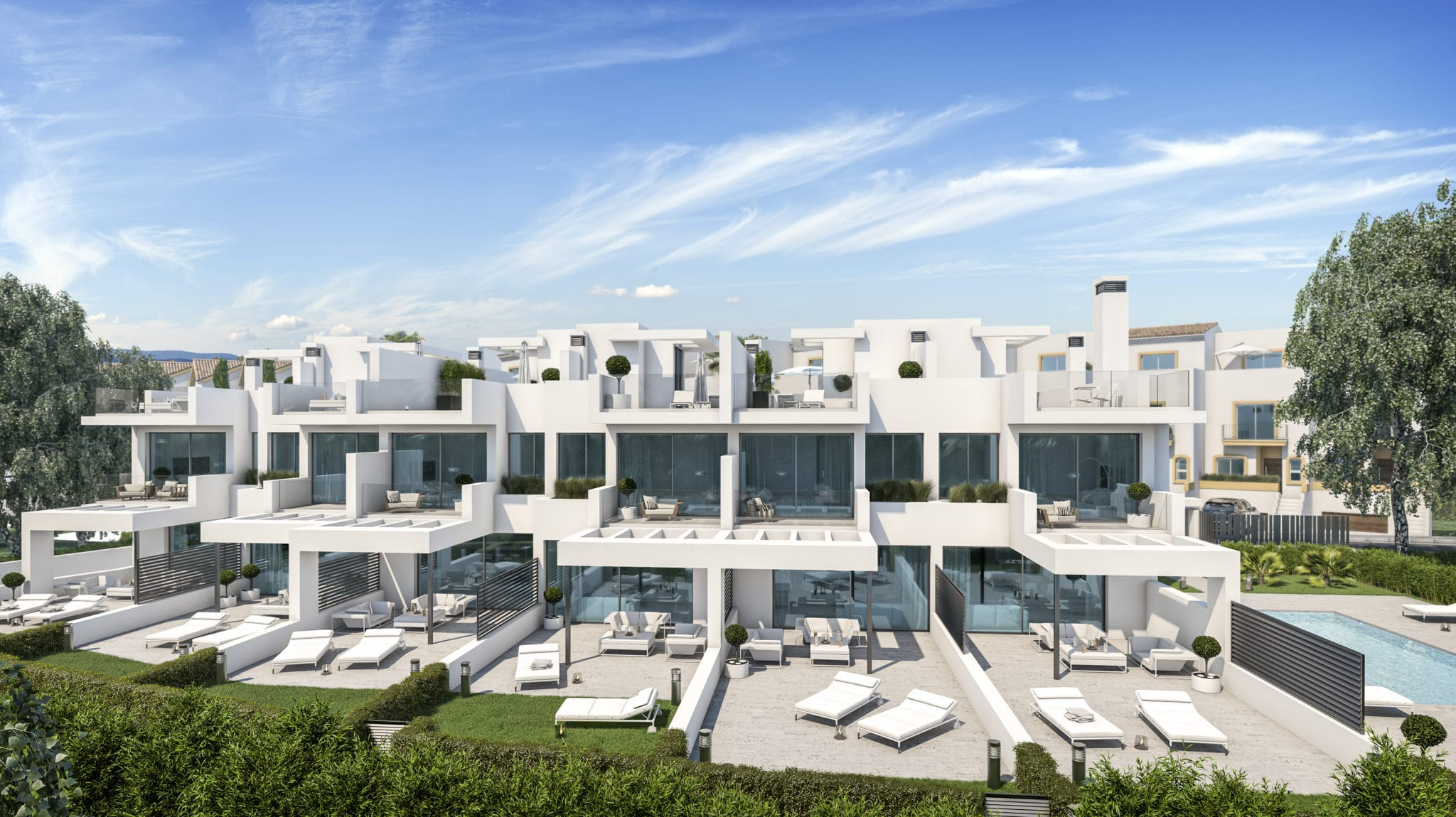 Contemporary houses 50 m from the beach of Guadalobon.