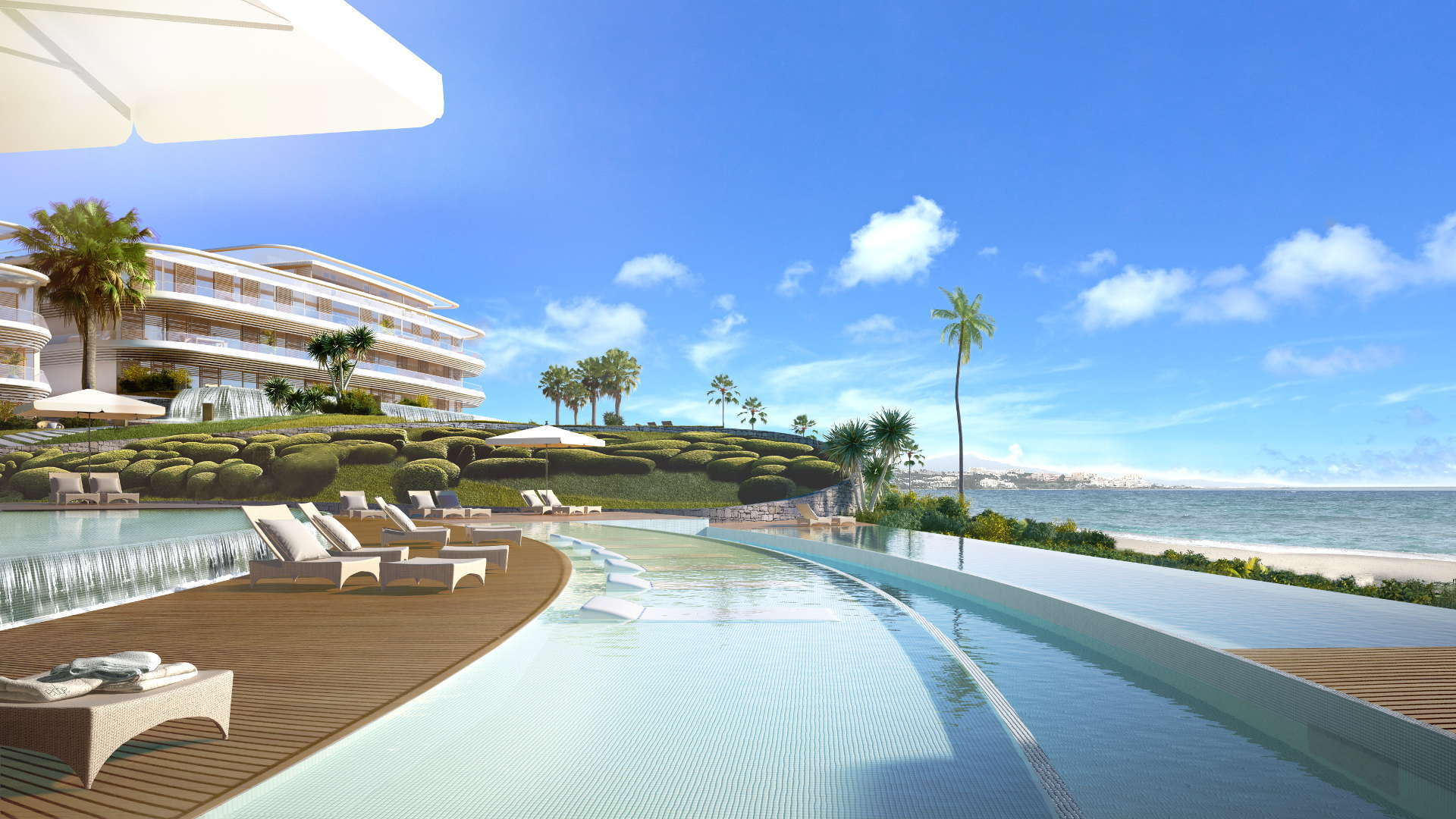 Luxury residential complex on the beach front in Estepona