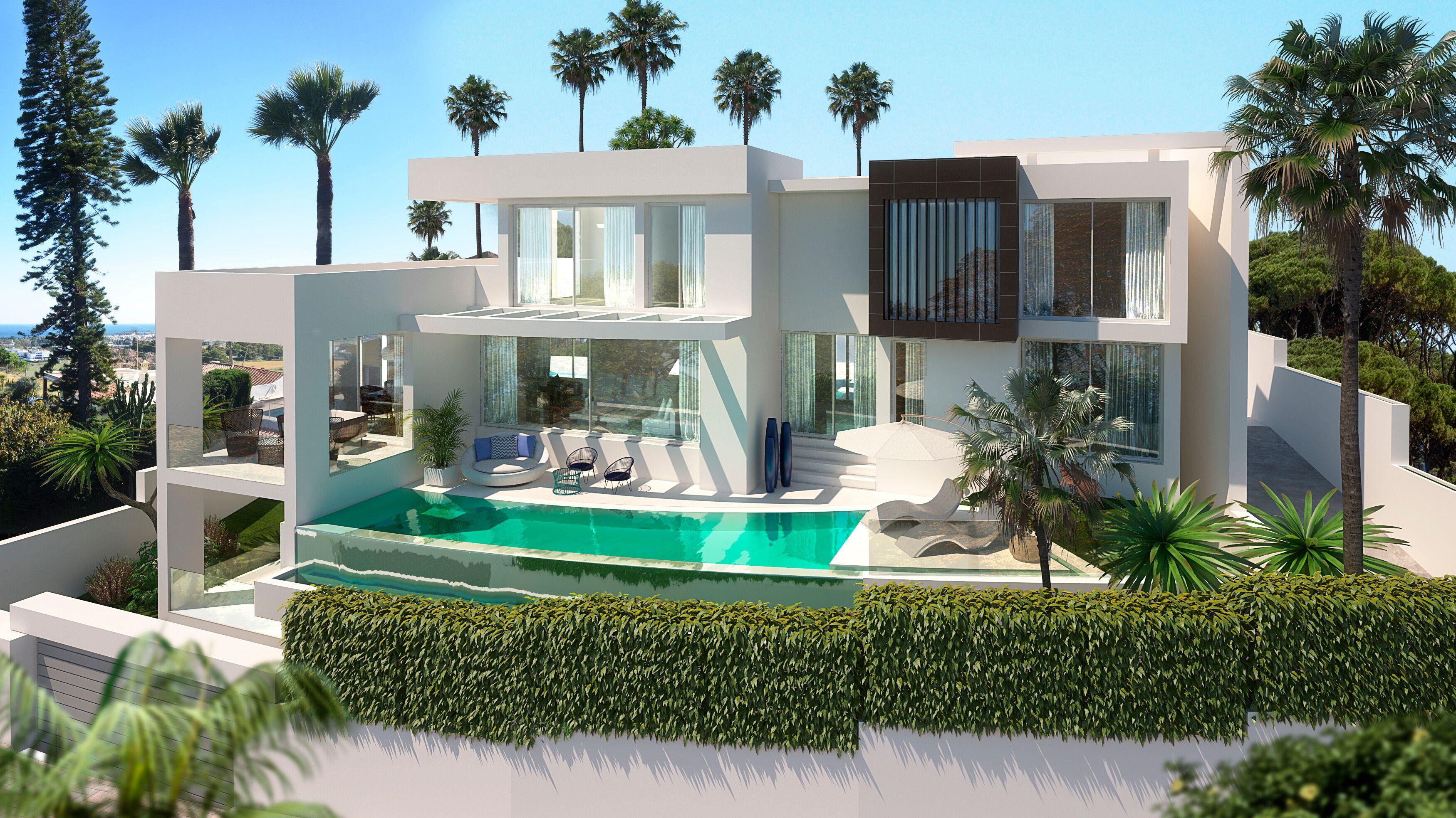 Villa contemporánea en construcción en Nueva Andalucía